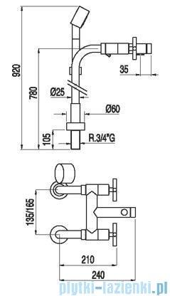 Tres Bimax-Tres Zestaw wannowy z przyłączem podłogowym 1.63.194