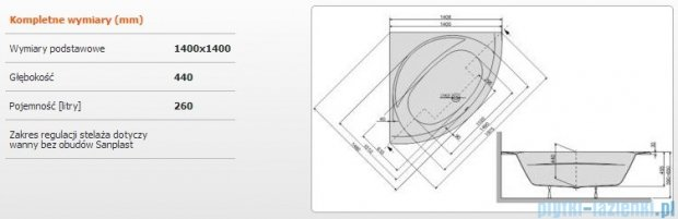 Sanplast Prestige Wanna symetryczna+stelaż WSzs/PR 140x140+ST24, 610-070-0330-01-000