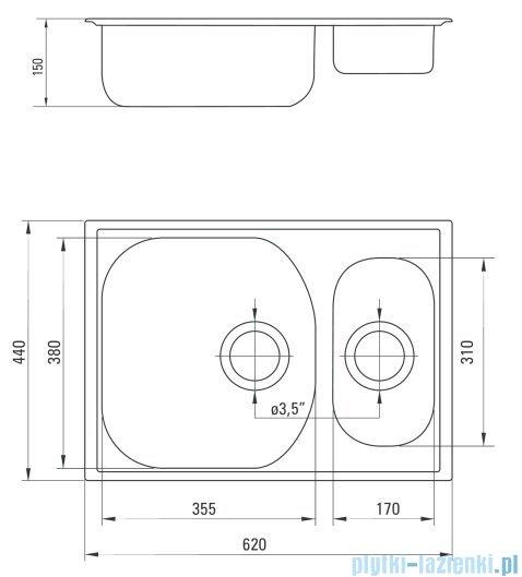 Deante  Xylo Zlewozmywak 1,5-komorowy bez ociekacza 62x44 cm ZEX 0503