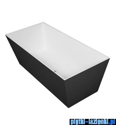 Omnires London wanna 175x80cm wolnostojąca biało-czarny połysk MARBLE+LONDON175CP