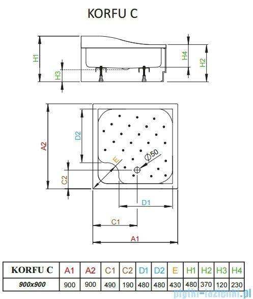 Radaway Brodzik kwadratowy Korfu C 90x90 4C99400-03