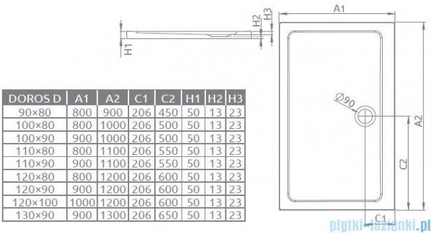 Radaway Eos II DWJS Drzwi prysznicowe 130x195 lewe szkło przejrzyste + brodzik Doros D + syfon 3799455-01L/SDRD1390-01