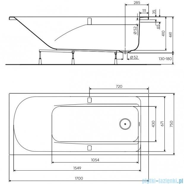 Koło Comfort Plus Wanna prostokątna 170x75cm z uchwytami XWP1471