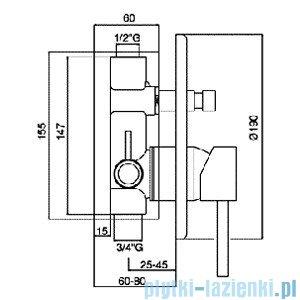 Paffoni Mieszacz podtynkowy Stick chrom mat z przełącznikiem SK015MC
