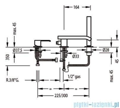Tres Cuadro-Tres Bateria wannowa 3-otworowa z wylewką typu kaskada 1.07.161.02