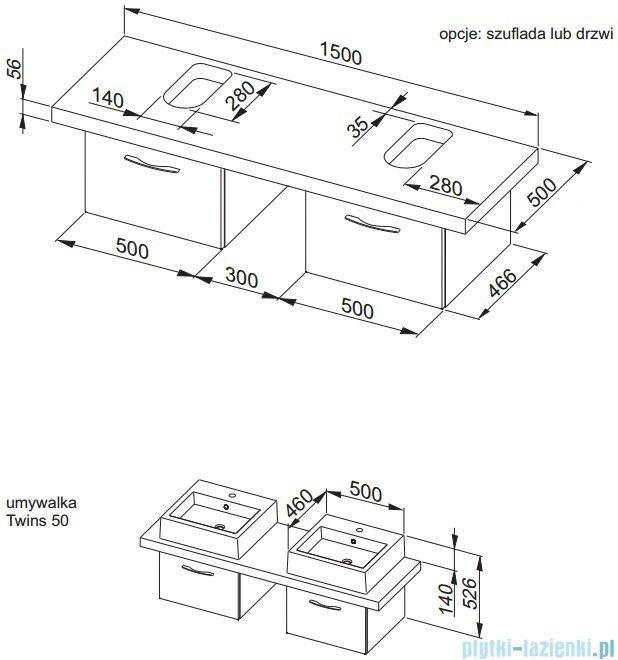 Aquaform Merida konsola podwójna dąb 0401-293101