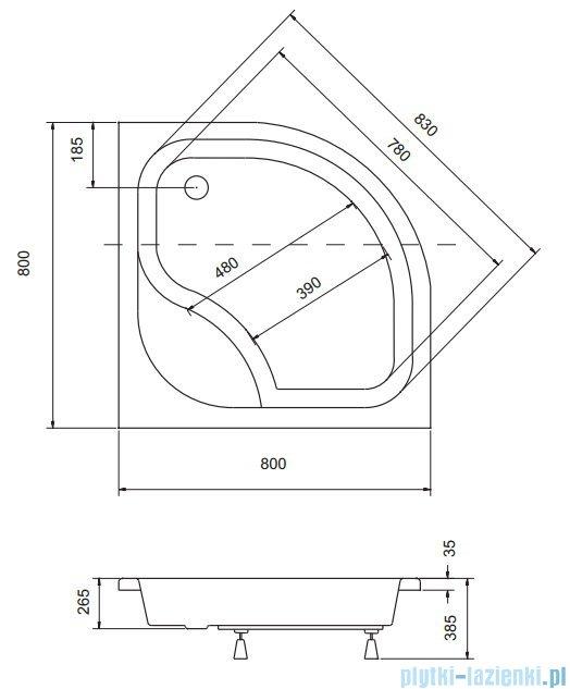 Sea Horse Sigma zestaw kabina natryskowa półokrągła - niska 80x80 chinchilla BKZ1/3/K/