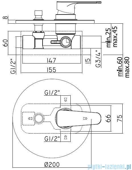 Paffoni Sly Mieszacz podtynkowy kompletny z przełącznikiem chrom SY015CR