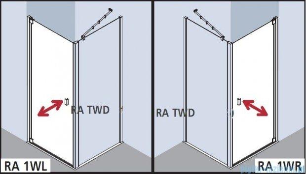 Kermi Raya Drzwi wahadłowe, 1-skrzydłowe, prawe, szkło przezroczyste z KermiClean, profile srebrne 90x200 RA1WR09020VPK