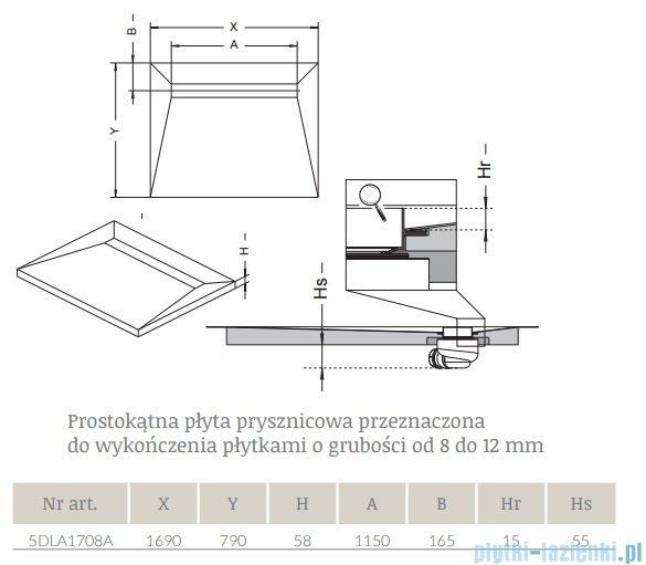 Radaway prostokątny brodzik podpłytkowy z odpływem liniowym Basic na dłuższym boku 169x79cm 5DLA1708A,5R115B,5SL1