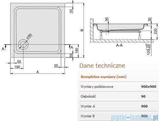 Sanplast Brodzik kwadratowy Free Line 90x90x9cm + stelaż 615-040-0031-01-000
