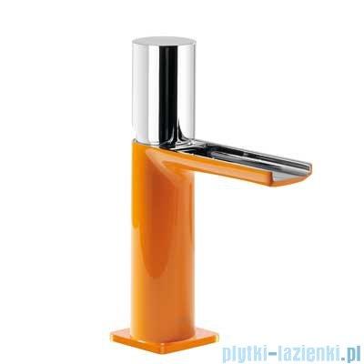 Tres Loft Colors Bateria umywalkowa z korkiem automatycznym wylewka kaskada otwarta kolor pomarańczowy 200.110.02.NA.D
