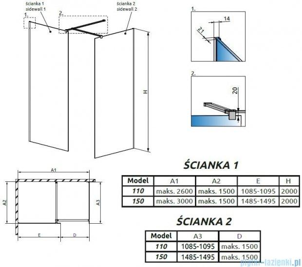 Radaway Modo New III kabina Walk-in 150x110x200 szkło przejrzyste 389154-01-01/389114-01-01/389000-01