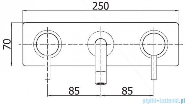 Paffoni  Light bateria podtynkowa umywalkowa L-245 mm chrom LIG102