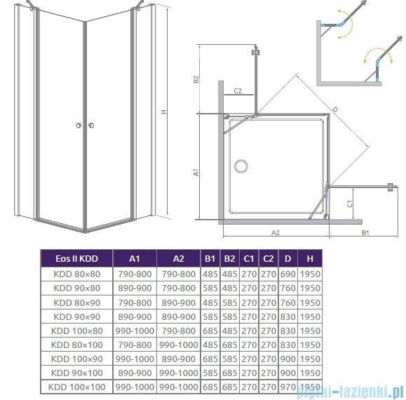 Radaway Eos II KDD kabina prysznicowa 80 część lewa szkło przejrzyste 3799460-01L