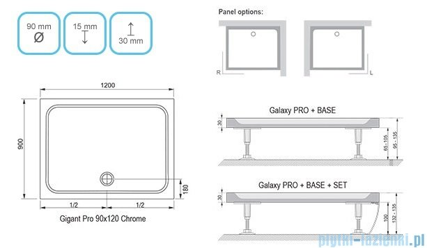 Ravak Brodzik Gigant Pro Chrome 120x90 biały,konglomerat marmurowy XA04G701010