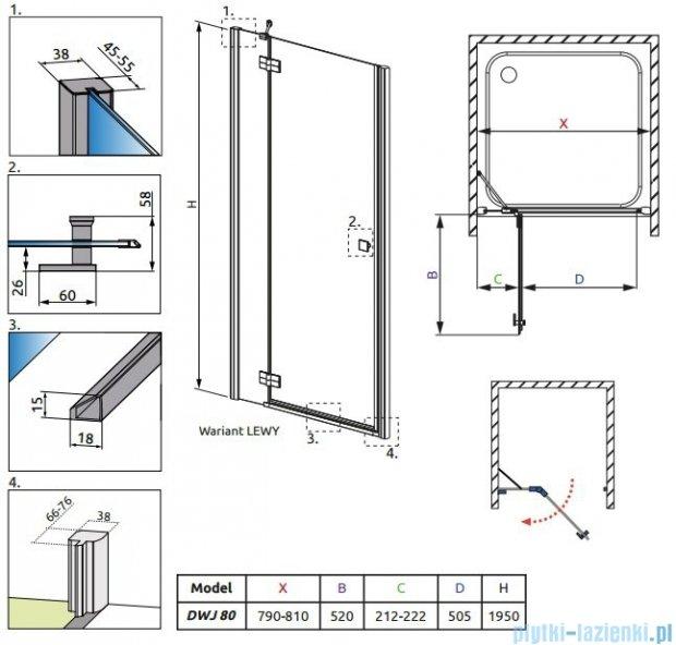Radaway Almatea DWJ Drzwi wnękowe 80 Lewe szkło grafitowe + Brodzik Delos C 80 + syfon 30802-01-05N