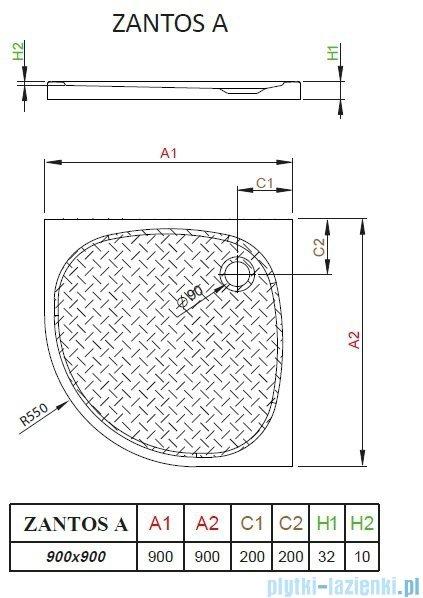 Radaway Zantos A brodzik półokrągły 90x90cm M3ZNA9090-06