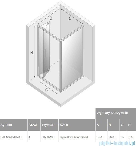 New Trendy Alta kabina prostokątna 90x80cm przejrzyste D-0088A/D-0078B