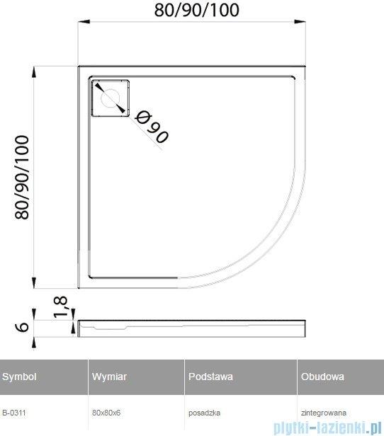 New Trendy Lido brodzik półokrągły 80x80x6cm B-0311