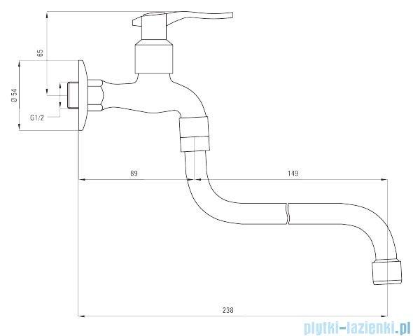 Deante bateria gospodarcza do zimnej wody z długą wylewką 1/2'' BEZ 126L
