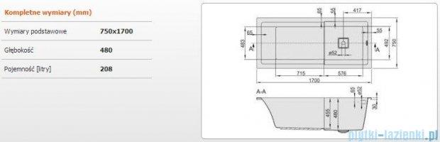 Sanplast Space Line Wanna prostokątna+adapter z pokrywką WPsp/SPACE 170x75, 610-100-0170-01-000