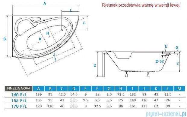 Piramida Finezja Maxi 170x110cm Wanna asymetryczna Prawa