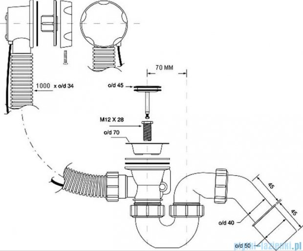 McAlpine syfon wannowy z korkiem automatycznym pokrywa złota HC31-GOLD-1M