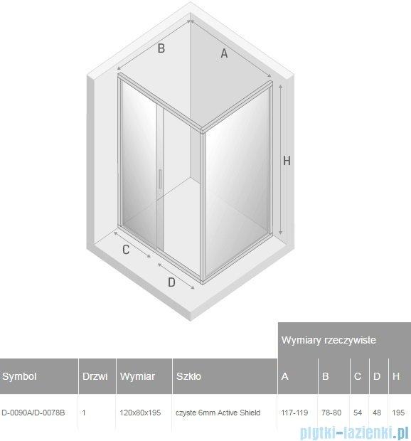 New Trendy New Corrina kabina prostokątna 120x80cm przejrzyste D-0090A/D-0078B