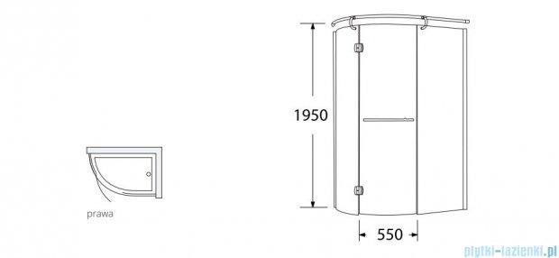 Sea Horse Sigma kabina  Klio prawa 120x85 szkło: grafitowe BK261GP + Brodzik prysznicowy 120 x 85  BKB261P