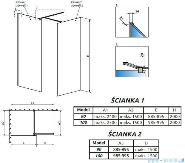 Radaway Modo New III kabina Walk-in 100x90x200 szkło przejrzyste 389104-01-01/389094-01-01/389000-01