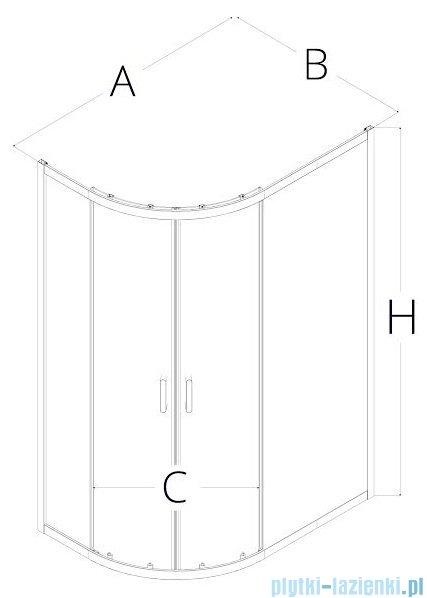 New Trendy Adora kabina 100x80x190cm asymetryczna grafit K-0284