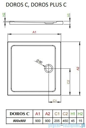 Radaway Doros C Brodzik kwadratowy 90x90x4,5cm SDRC9090-01