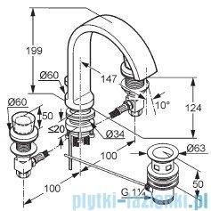 Kludi Joop Bateria umywalkowa 3-otworowa DN 15 chrom/szkło zielone 55143H705