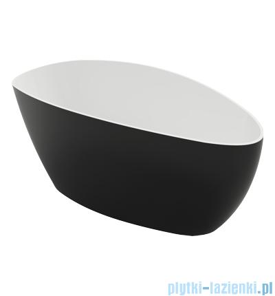 Omnires Marble+ Barcelona XL CP 170x77 wanna wolnostojąca biało-czarna połysk
