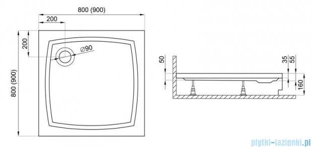 Polimat Patio 2 brodzik kwadratowy ze stelażem 90x90x5 00736