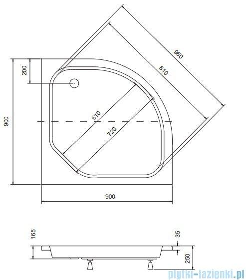Sea Horse Sigma zestaw kabina natryskowa półokrągła - niska, 90x90 brąz + brodzik BKZ2/3/KB