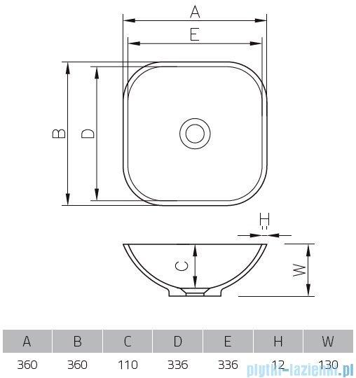 Vayer Citizen Grus 36x36cm umywalka nablatowa kwadratowa