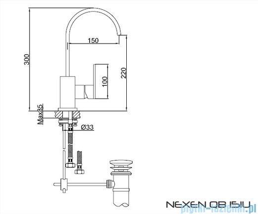 Kohlman Nexen 1-otworowa bateria umywalkowa z obrotową wylewką QB151U