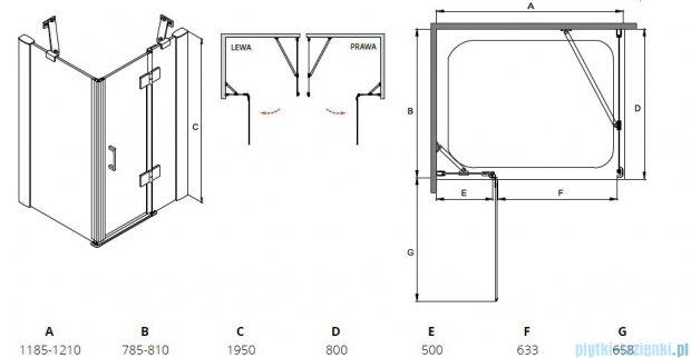 Besco Viva kabina prostokątna prawa 120x80x195cm przejrzyste VPP-128-195C
