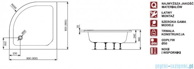 Aquaform Plus 550 brodzik półokrągły głęboki 90x90cm bez siedziska 18611