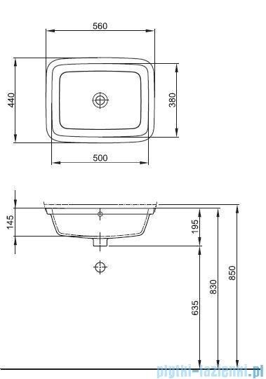 Koło Style Umywalka 56cm podblatowa z powłoką Reflex L21850900