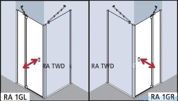 Kermi Raya Drzwi wahadłowe, 1-skrzydłowe, z polem stałym, lewe, szkło przezroczyste, profile srebrne 90x200 RA1GL09020VAK