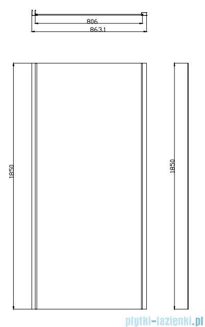 Omnires Bronx ścianka boczna do drzwi prysznicowych 10P80
