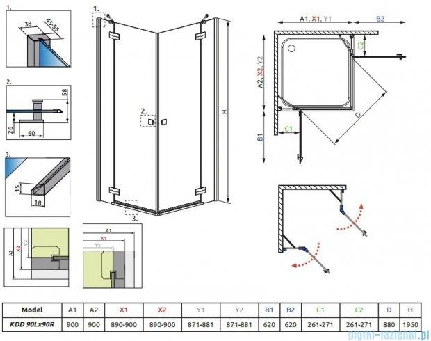 Radaway Almatea  Kdd Kabina kwadratowa 90x90 szkło przejrzyste + Brodzik Delos C 90 + syfon 32152-01-01N