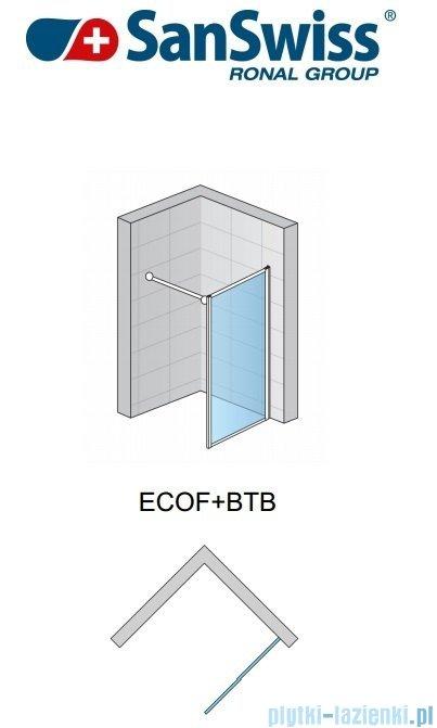 SanSwiss Eco-Line Ścianka boczna ECOF 120cm profil biały-szkło durlux ECOF12000422