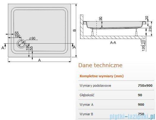 Sanplast Brodzik prostokątny Free Line 90x75x9cm + stelaż 615-040-0110-01-000