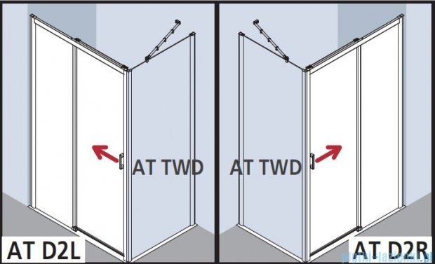 Kermi Atea Drzwi przesuwne bez progu, prawe, szkło przezroczyste, profile białe 140x185 ATD2R140182AK