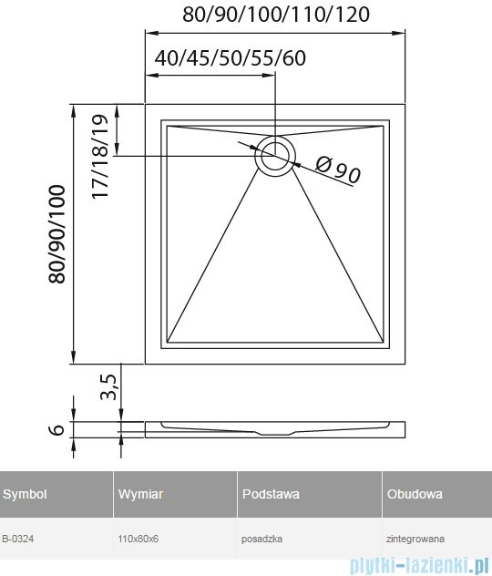 New Trendy Cantare brodzik prostokątny posadzkowy 110x80x5,5cm B-0324