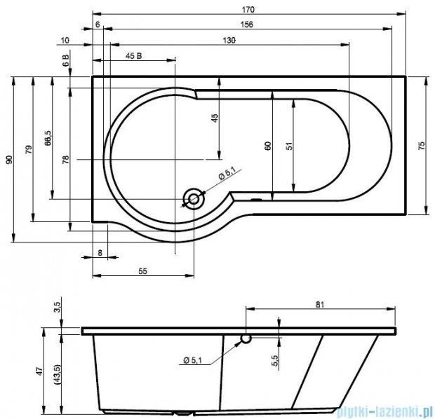 Riho Dorado wanna asymetryczna 170x75cm prawa z hydromasażem HIT Aero12 BA80H1